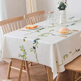 JZY Heavy Duty Vinyl Table Cloth for Kitchen Dining Table Wipeable PVC Tablecloth for Rectangle Table (54