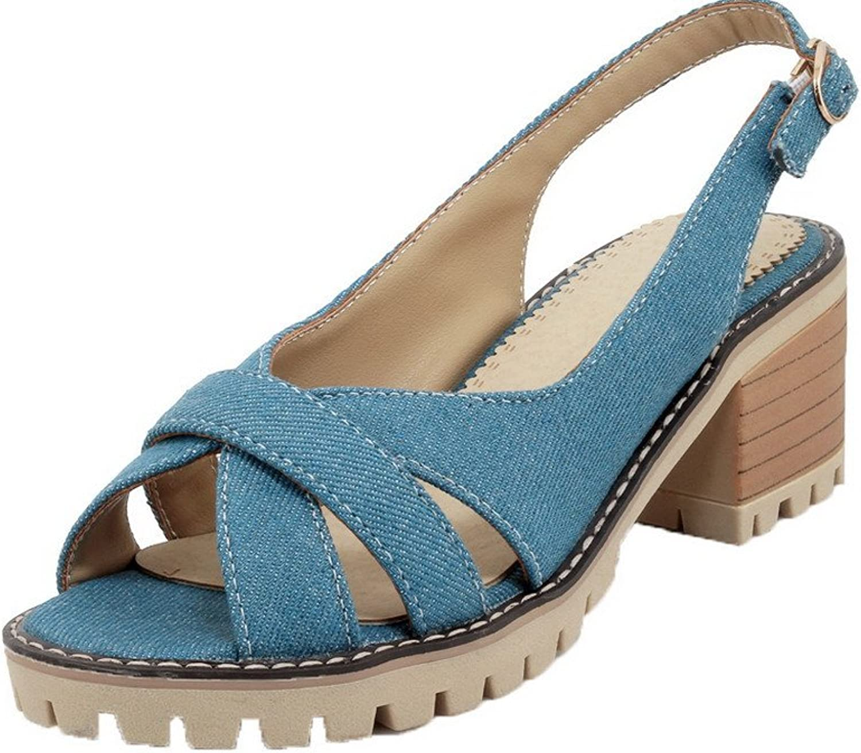 AllhqFashion Women's Open-Toe Buckle Denim Solid High-Heels Sandals, FBULD014854