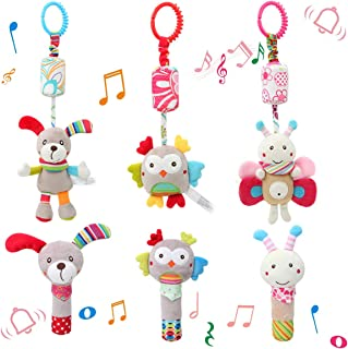 6 Pcs Baby Hanging + Hand Rattles Toys, Soft Crinkle Squeaky Sensory Learning Toy, Plush Animals Ring Stroller Infant Car ...