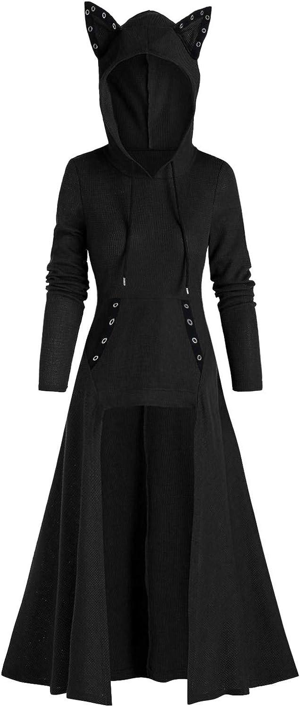 Womens Cat Ears Hooded Sweatshirt Tops Medieval Vintage Lace Up High Low Cloak Hoodie Blouse