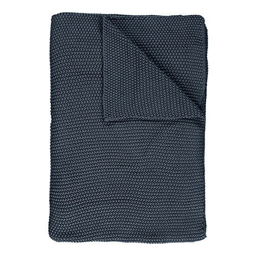 Marc O Polo Strick Dekokissen Plaid Nordic Knit Smoke Blue Plaid 130x170 cm