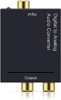DUOLEI DACデジタル(光と同軸)→アナログ(RCA) オーディオコンバーター, rca コンバーター 光&同軸デ-ジタル変換 TOSLINK入力 コンポジット出力 金メッキ端子 光デジタルケーブル付き+充電ケーブル