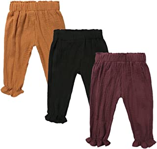 MYGBCPJS Baby Boys Girls 3 Pack Cotton Linen Trousers Kids Casual Ankle Pants