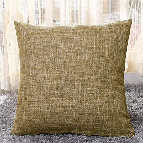 JONJUMP Funda de almohada de lino sintético para sofá, café, color sólido, funda de cojín cuadrada
