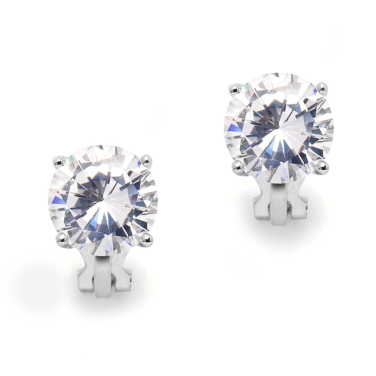 Mariell 3 Carat Cubic Zirconia Clip-On Stud Earrings - Bold 9.5mm Round-Cut Solitaires - Platinum Plated