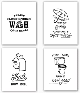 """Bathroom Art Print Set of 4 (10""""X8""""Funny Black & White Washroom Quotes Signs,Toilet Decor with Lettering Painting, Canvas Art Print Painting Poster for Bathroom, Wall Art Home Decor, No Frame"""