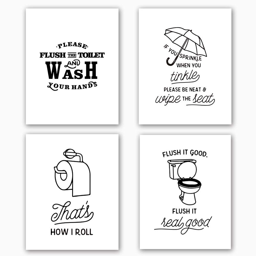 Bathroom Art Print Set Of 4 10 X8 Funny Black White Washroom Quotes Signs Toilet Decor With Lettering Painting Canvas Art Print Painting Poster For Bathroom Wall Art Home Decor No Frame Buy Online