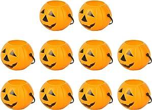SOIMISS Halloween Pompoen Emmer Snoep Emmers Kinderen Trick Or Treat Pompoen Snoep Emmer Houder Draagbare Oranje 10Pcs