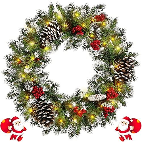 Guirnalda Corona Navideñas para Puerta Diámetro 45CM, Artificial Corona de Navidad Incluir 50 Luces LED alimentadas por Baterías, Copo de Nieve Pineal Fresa Roja(45CM/18IN)