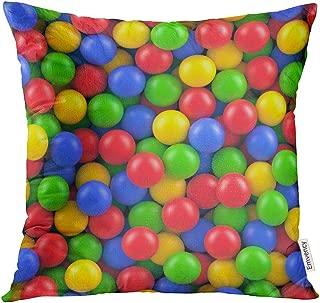 Semtomn Throw Pillow Cove Bubblegum Dry Children Pool Colorful Plastic Balls Gum Pit Decor Square 18x18 Inches