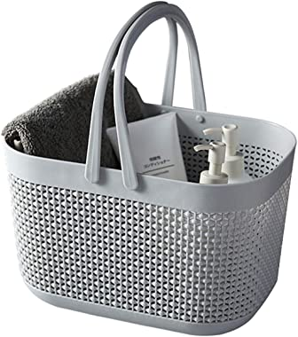 FEOOWV Plastic Bathroom Storage Basket with Handle, for Storing Bathroom Body Wash, Shampoo, Conditioner, Lotion (Grey, 1Pcs)