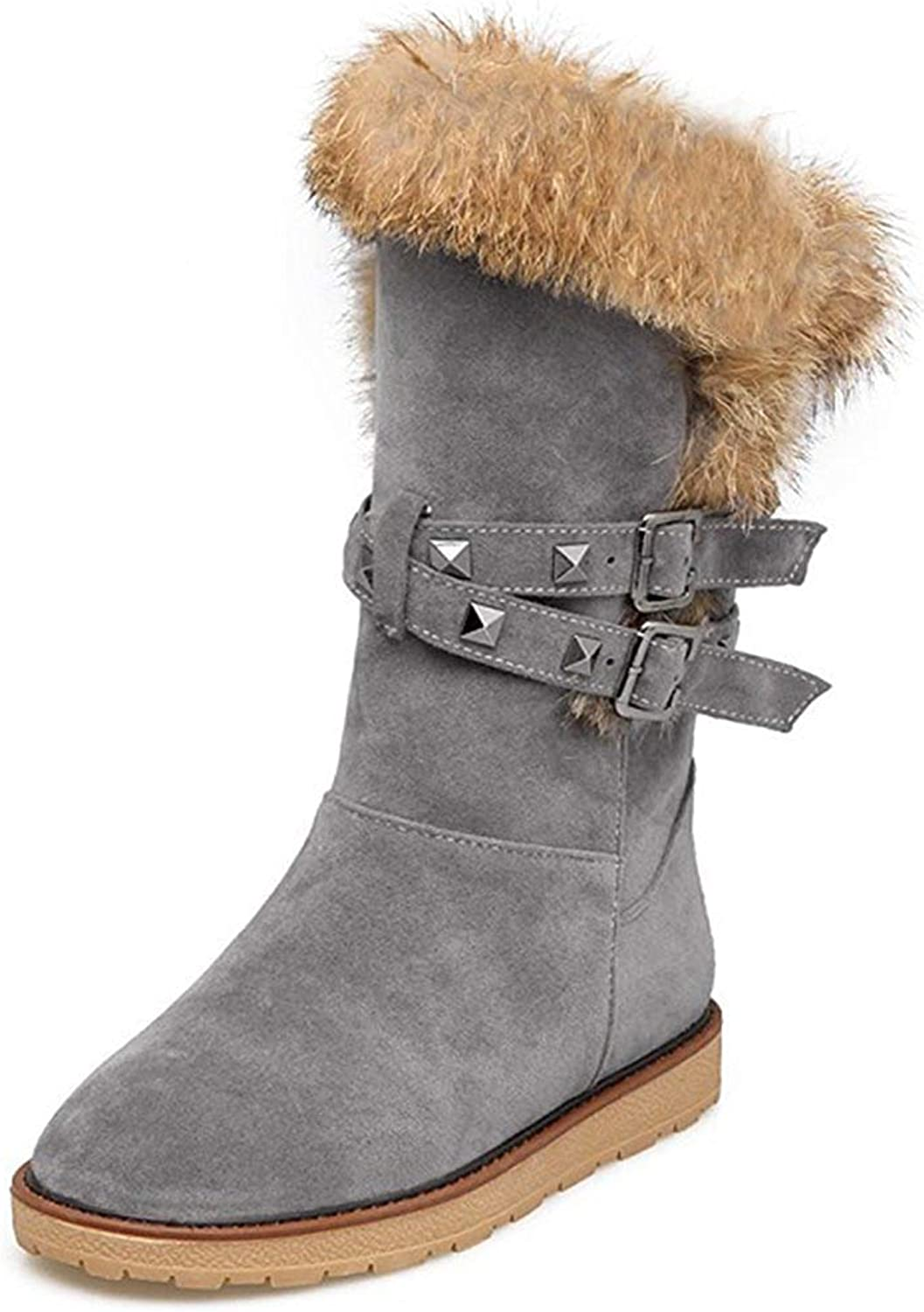 Ghssheh Women's Warm Faux Suede Fur Rivets Studded Straps Buckle Round Toe Round Toe Flats Slip in Mid Calf Snow Boots Apricot 4 M US