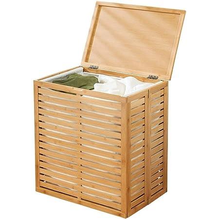 mDesign coffre à linge en bambou – caisse de rangement pliable avec sac à linge amovible – corbeille à linge pour salle de bain ou chambre – bambou