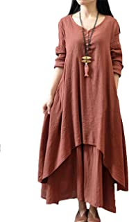 Fashion women's clothes XuBa Fashion Women's False 2 Long Sleeve Loose Dresses and Large Skirt Arrange Gifts 2021 new wome...
