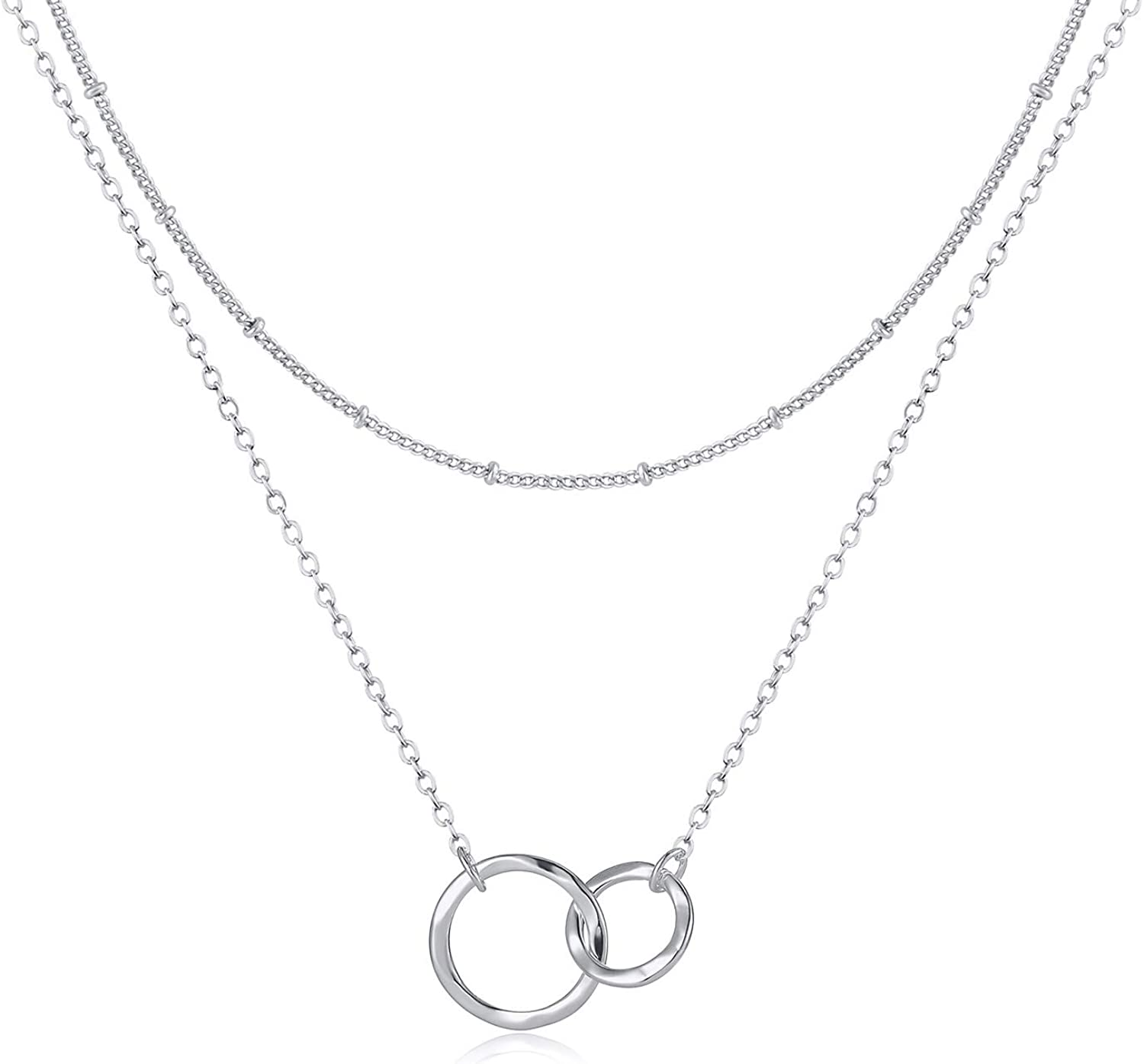 Fettero Layered Necklace OFFicial Jacksonville Mall store Double Circle Interlocking Generations