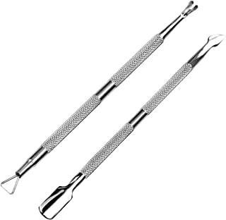 HIFAU 2PCS Premium Cuticle Pusher and Cutter Manicure Tools Set, Professional Stainless Steel, Cuticle Pusher Peeler, Triangle Nail Polish Remover Trimmer for Fingernail and Toenail
