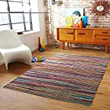 Chardin Home - Eco Friendly 100% Recycled Cotton Colorful Chindi Area Rug – 5'x7'