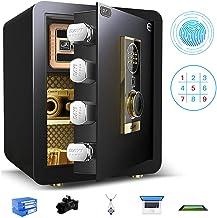Jewelry Cash Box Digital Safe Box Fingerprint Cabinet Safe Wall Mounted/Floor Security Safe Money Storage Safe with 3 Alar...