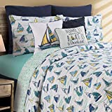 C&F Home Dockside Full Queen Cotton Quilt Set All-Season Oversized Reversible Coastal Sailing Boat Bedspread 3 Piece with Shams Full/Queen 3 Piece Set Blue