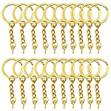 YapitHome 60 Pezzi d'oro Anelli per Portachiavi Portachiavi Anello Cerchio Portachiavi Split con Vite Occhielli Ganci Adatto Usato per Portachiavi, Ciondoli-2