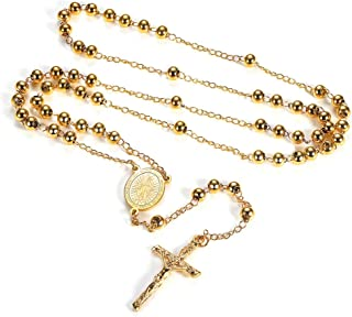 Catholic Rosary Beads Necklace, Holy Soil Virgin Mary/Saint Benedict Medal with Cross Crucifix Pendant, 6MM Beads, 26-28 Inches Chain, 6.3-6.7 Inches (Send Gift Box)
