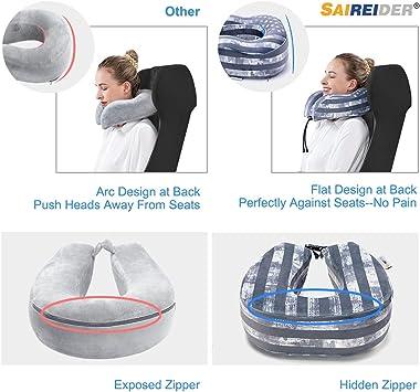 SAIREIDER Travel Neck Pillow for Airplane Sleeping 100% Memory Foam Adjustable Travel Pillows with Storage Bag, Sleep Mask an