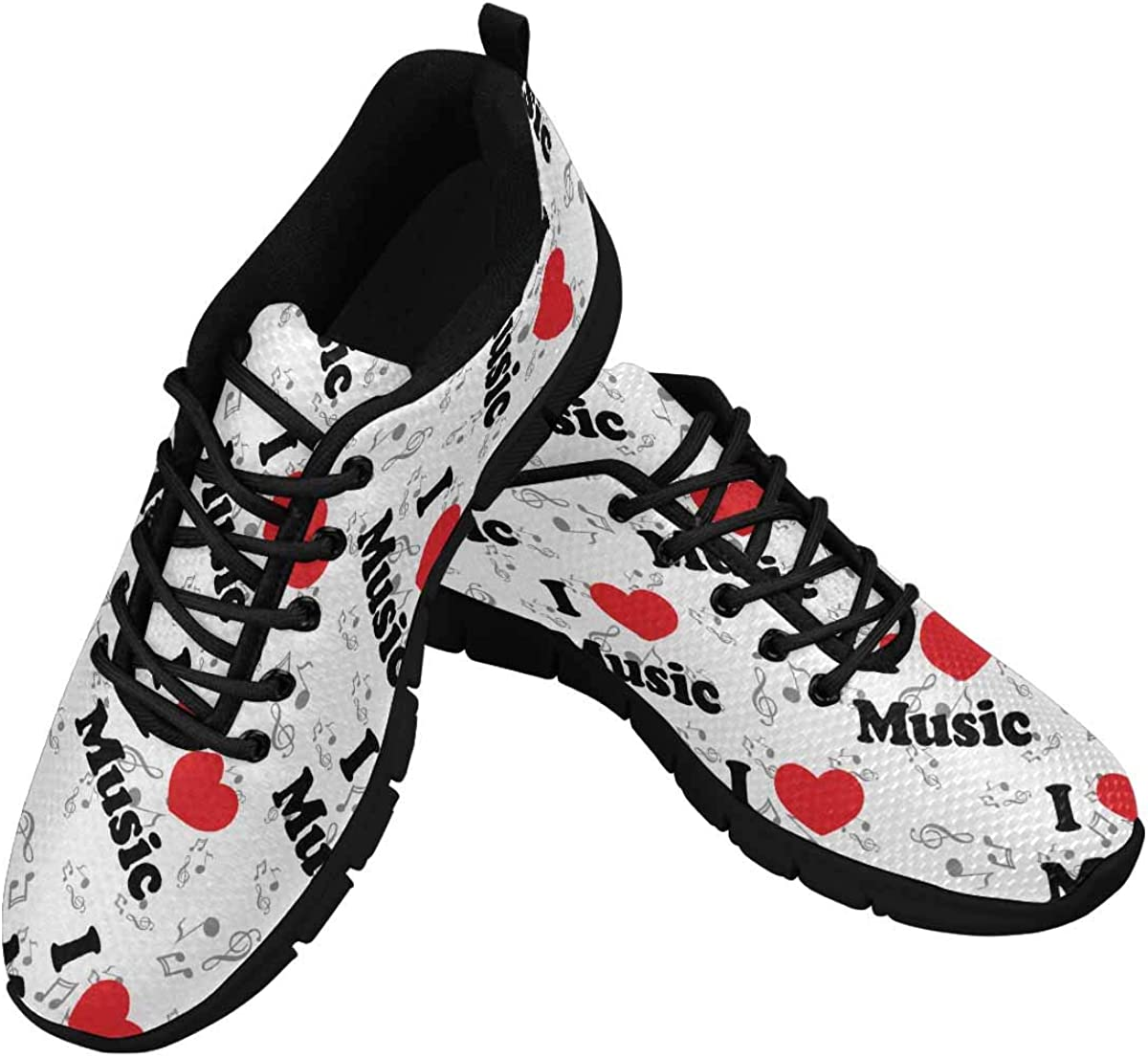 InterestPrint I Love Music Clef Women's Athletic Walking Shoes Breathe Comfort Mesh