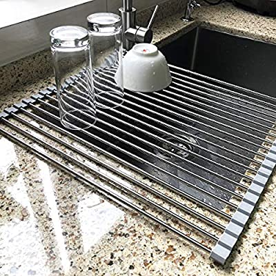 "17.7"" x 15.5"" Large Dish Drying Rack, Attom Tech Home Roll Up Dish Racks Multipurpose Foldable Stainless Steel Over Sink Kitchen Drainer Rack for Cups Fruits Vegetables by"