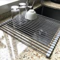 Attom Tech Home Foldable Stainless Steel Over Sink Kitchen Drainer Rack