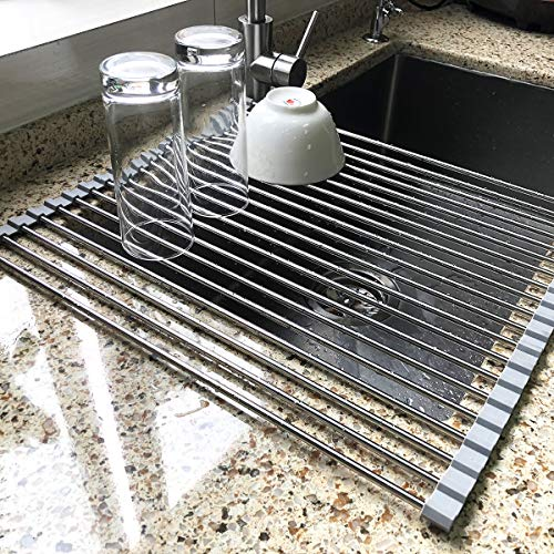 177 x 155 Large Dish Drying Rack Attom Tech Home Roll Up Dish Racks Multipurpose Foldable Stainless Steel Over Sink Kitchen Drainer Rack for Cups Fruits Vegetables
