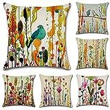HuifengS Fundas de cojín cuadradas de Lino Decorativas, Pájaro Dibujo Abstracto, para sofás o...