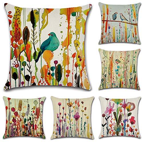 HuifengS Fundas de cojín cuadradas de Lino Decorativas, Pájaro Dibujo Abstracto, para sofás o Camas Juego de 6 Fundas de cojín de 45 x 45 cm