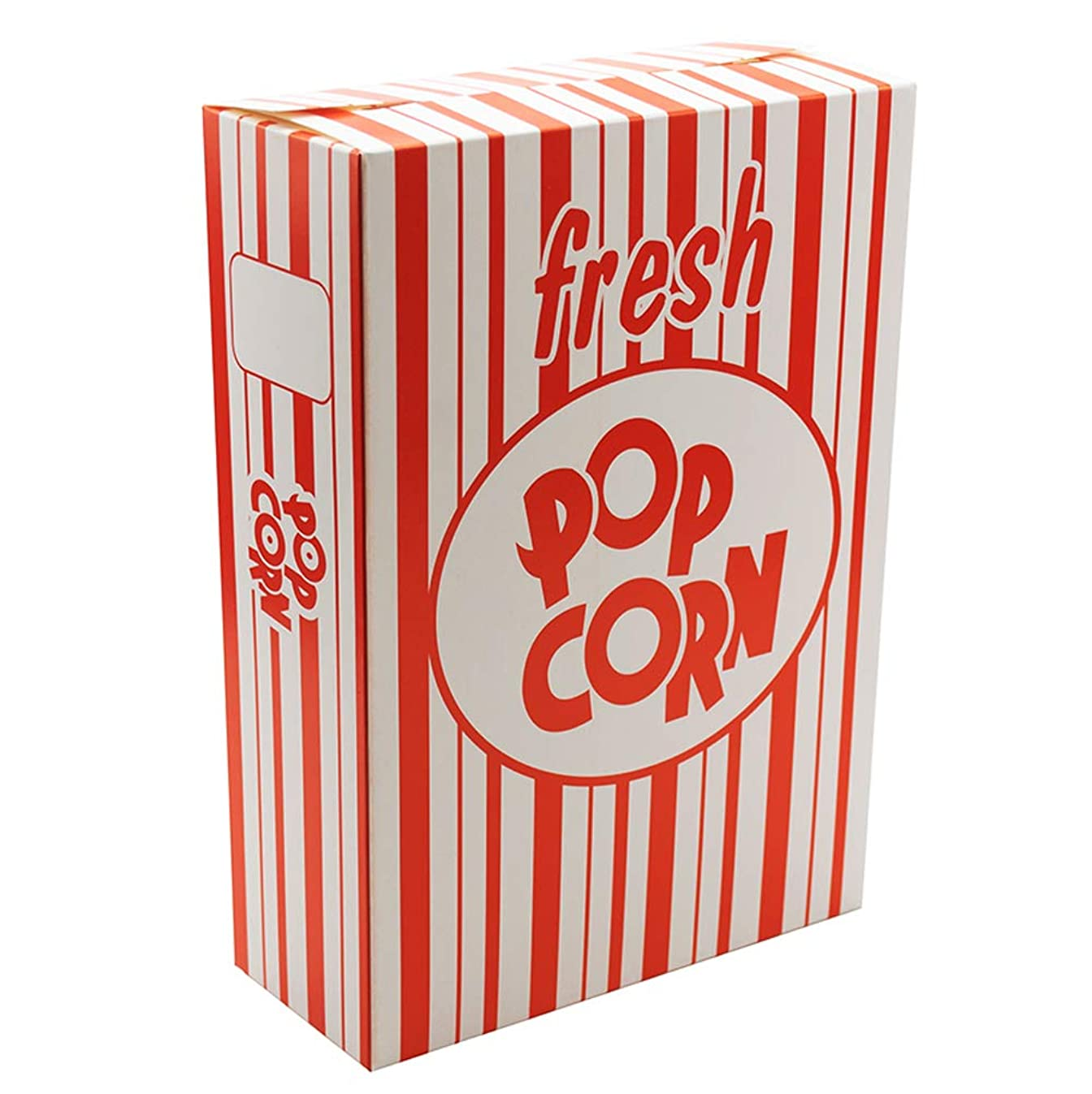Fasmov Set of 100 - Close Top Movie Theater Popcorn Boxes, Carnival Circus Party Favors (Red and White Stripes)