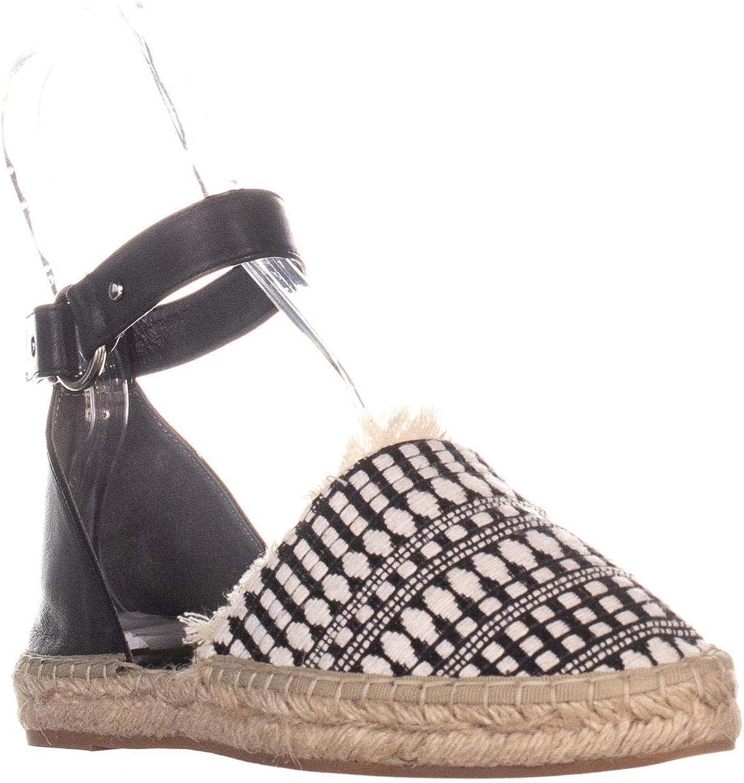 Rebecca Minkoff Vicky Ankle Strap Flats, Black White Woven Vachetta