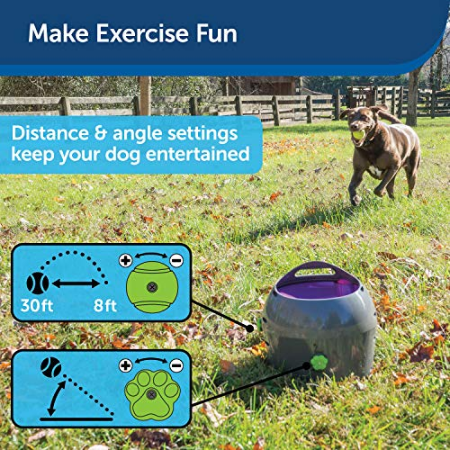 PetSafe Automatic Tennis Ball Launcher – Interactive Dog Ball Thrower – Adjustable Range – Motion Sensor – Indoor & Outdoor Toy – A/C Power or Batteries – Fetch Machine for Small to Large Dogs