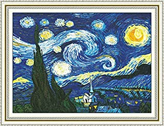 Faraway Cross Stitch Kits, The Starry Night of Van Gogh, DIY Handmade Needlework Set Cross Stitching Accurate Stamped Patterns Embroidery Frameless Beginners Kids