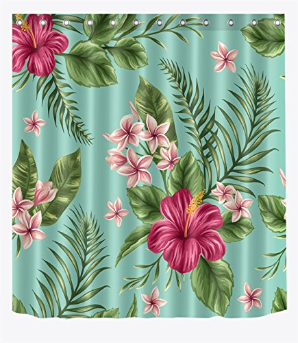LB Hawaiian Tropical Palm Leaf Shower Curtain Hibiscus Plumeria Areca Floral Flowers Shower Curtains for Bathroom Waterproof Fabric Curtain Set with Hooks, 59 W x 70 L