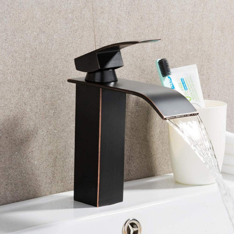 Hiwenr Schwarz Becken Wasserhahn Messing Wasserfall Bad Wasserhahn Einhand Big Square Toilette Deck Hot Cold Mischbatterie Kran