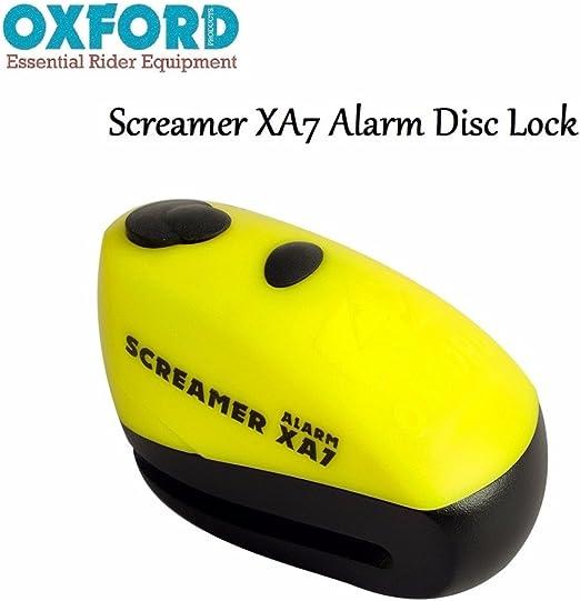 Oxford Screamer Xa7 Alarm Disc Lock Lk280 Diebstahlsicherung Für Motorrad Roller 7 Mm Sicherheit 100 Db