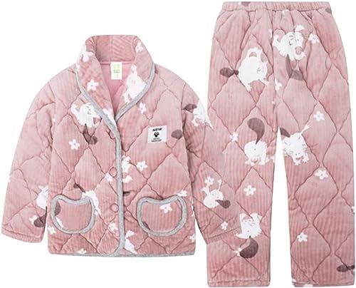 Chemises de nuit Pyjamas Corail Velours Hiver Fille big Boy Trois Couches matelassée Chaleur épaississeHommest Pyjama Hiver Filles (Couleur   rose, Taille   100cm)