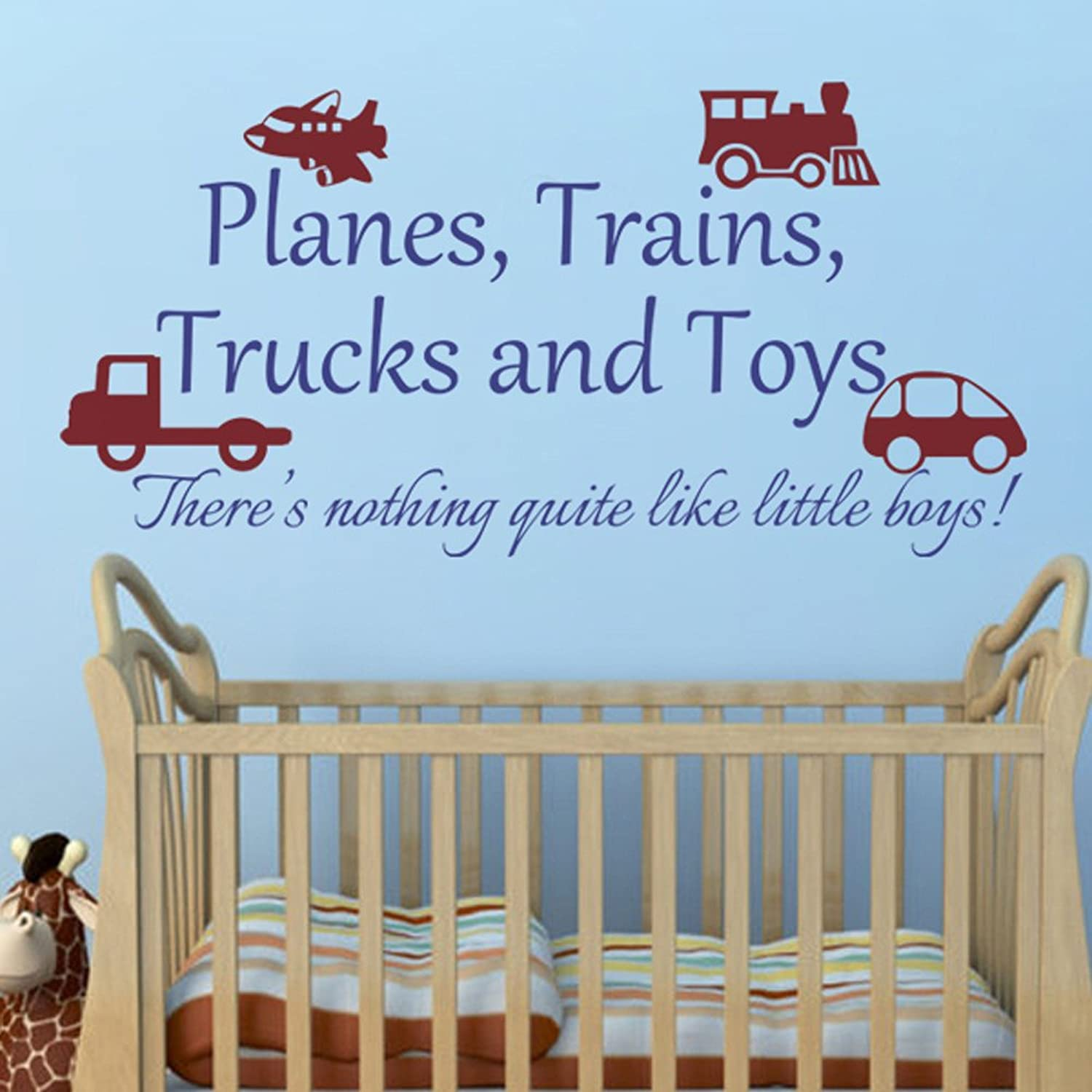 Kids Playroom Vinyl Wall Sticker Planes Trains Trucks and Toy Boys Wall Decal Nursery Decor(X-Large,Toys-Dark Red;Words-bluee)