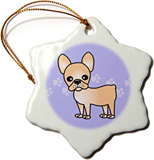 3dRose orn_25324_1 Cute Cream French Bulldog Blue with Pawprints-Snowflake Ornament, 3-Inch, Porcelain