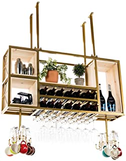 Solid Wood Ceiling Hanging Wine Rack Storage Holder Metal Cabinet Wine Bottle Rack Wine Cooler Decorative Display Shelves,...