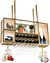 Metal Solid Wood Ceiling Wine Rack Household Hanging Wall Cabinet Wine Bottle Rack Decorative Display Storage Holder for L...