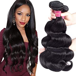 Geoyern Brazilian Body Wave 3 Bundles Human Hair Weave 10A Grade Unprocessed Human Hair Weaving Extensions Natural Color Good Quality Remy Hair Weft 3pcs (20 22 24)