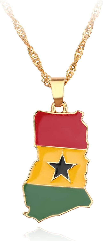 2PCS Ghana Map Flag Necklace Ghana Map Pendant Necklace for Men Women,Gold