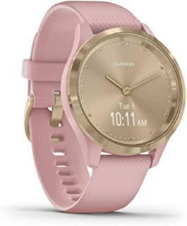 Garmin Hybrid Smartwatch with Real Watch Hands and Hidden Color Touchscreen Displays, rose gold with light sand case and band, 39mm, 010-02238-02