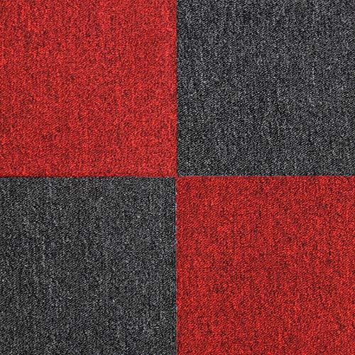 MonsterShop Dalle de Moquette Ultra-Résistant Couleur Charbon Noir & Rouge Écarlate pour Usage Professionnel, 2 Paquets de 20 Dalles de 50cm x 50cm (Superficie de 10m²)