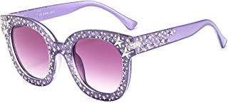 MAOLEN Oversized Sunglasses for Women Square Thick Frame Bling Rhinestone Shades