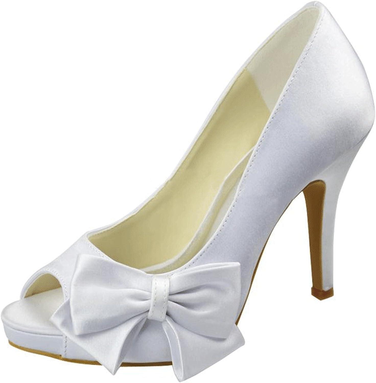 Minishion Girls Womens Fashion Knot Bow Satin Bridal Wedding Evening Sandals